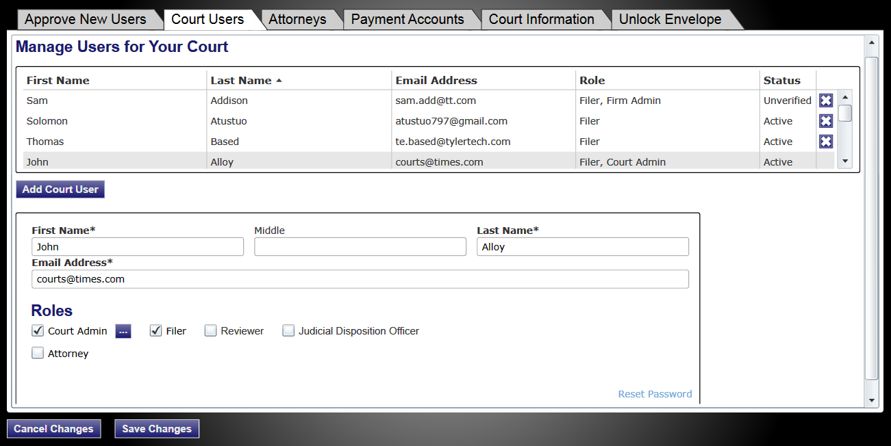 efiletexas.gov Figure 6.4 Court Users Tab Selected 2. Select the Court Users tab. 3. Select the court user to delete on the list. 4.