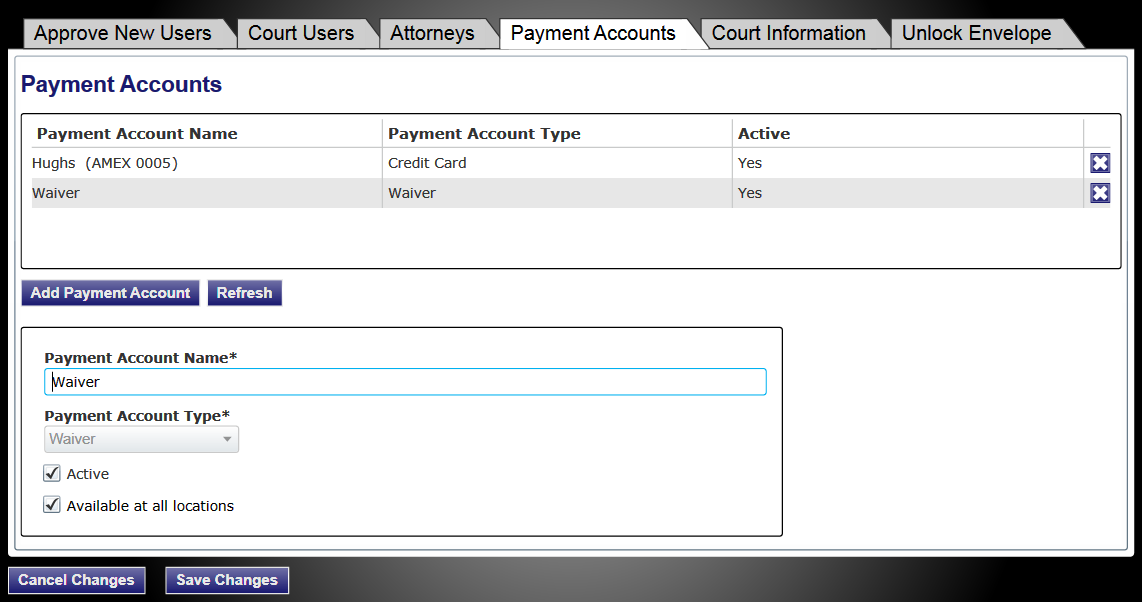 efiletexas.gov Figure 8.5 Payment Accounts Tab Selected 3. Select the firm payment account to delete from the list. 4. Click the button next to the name in the list to delete the payment account.. 5.