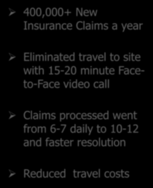 Insurance Claims Processing 400,000+ New Insurance Claims a year Eliminated