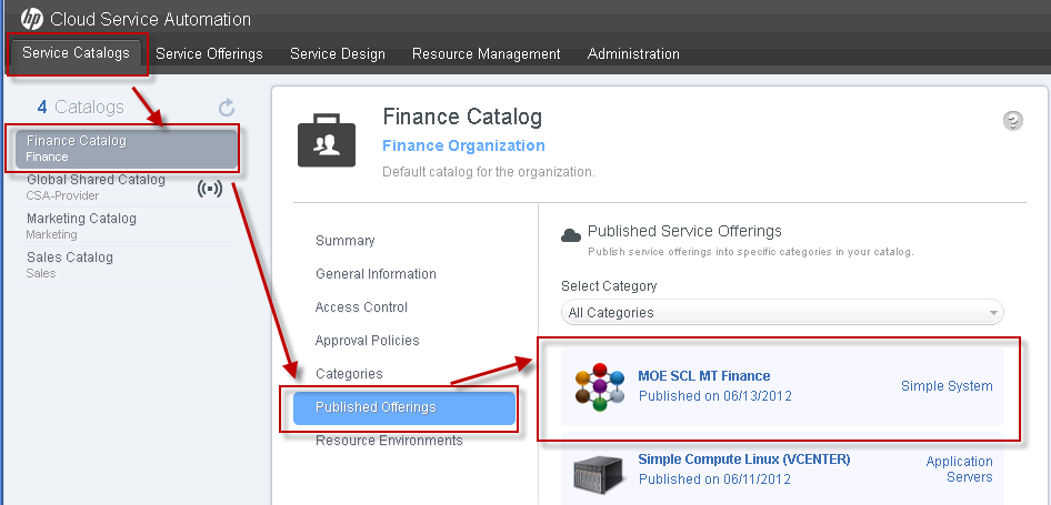 Create and publish service offerings A service offering must be created in HP Cloud Service Automation before subscribers can request services based on this service design.