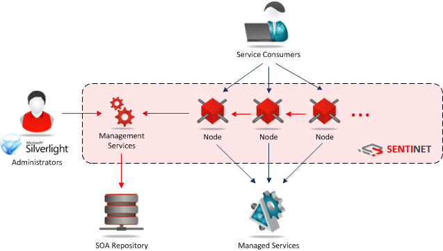 2. Sentinet Management Services is a collection of secure SOAP services that have access to SOA Repository.