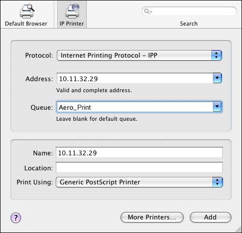 SETTING UP PRINTING ON MAC OS X 14 For IP Printing, choose Internet Printing Protocol - IPP, type the IP address or DNS name of the printer in the Address field, and the print connection (Print,