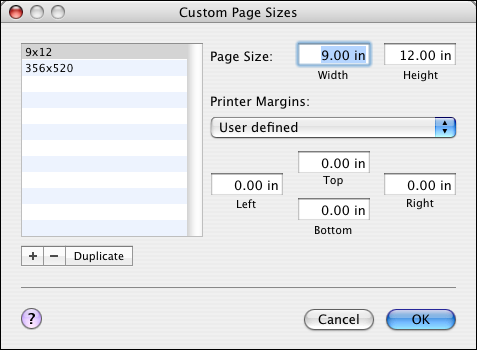 PRINTING FROM MAC OS X 32 3 Click New and type a name for the custom page size. 4 Enter the page dimensions and margins. 5 Click Save. 6 Click OK to exit.