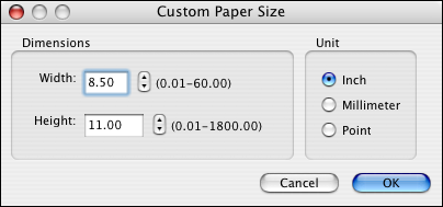 PRINTING FROM MAC OS X 35 5 Click Custom. The Custom Paper Size dialog box appears. 6 Specify options to define the custom page size. Dimensions: Specify the width and height of the print job.