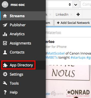 App Directory The Hootsuite App Directory is a collection of applications and extensions that can be added to the Hootsuite dashboard.