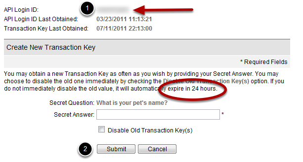 Copy values from Authorize.net Your API Login ID (or API Key) is a fixed value that never changes. This is displayed at the top of the view (1). A Transaction Key can change more frequently.