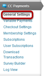 Card Type and E-mail Options Credit Card Settings: Under CC Payments
