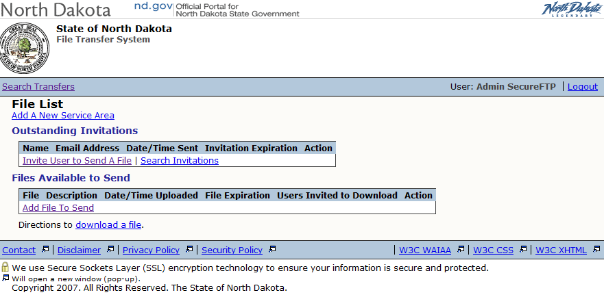 3. Agency Administration Functions The Administrative portion of the Secure FTP web application has two sections to it.
