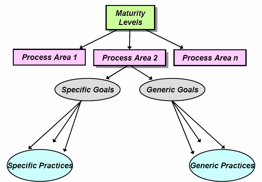 In CMMI within each process area, there are one or more specific goals with specific practices and generic goals with generic practices.