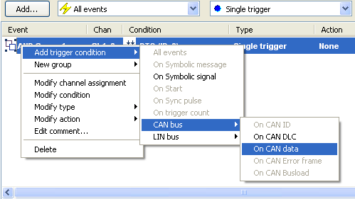 Manual Vector XL log Config Tree view Trigger AND Groups Trigger AND groups can be used to combine several trigger conditions.