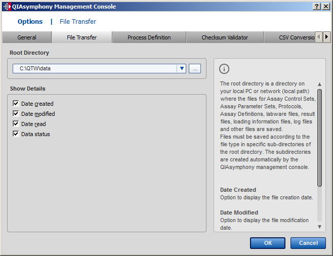 Configuration 11.3 File Transfer tab 11.3.1 Root Directory panel Enables the user to browse for a root directory.