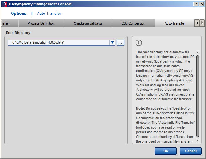 Configuration 11.7 Auto Transfer tab 11.7.1 Root Directory panel Enables the user to browse for a root directory.