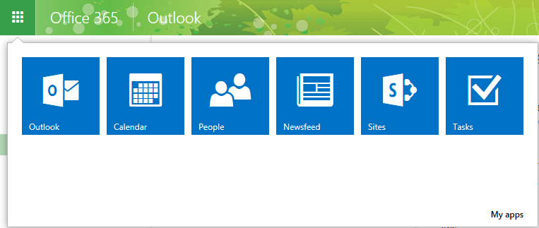The Office 365 Ribbon The interface will default to the Outlook Web Access (email) application.