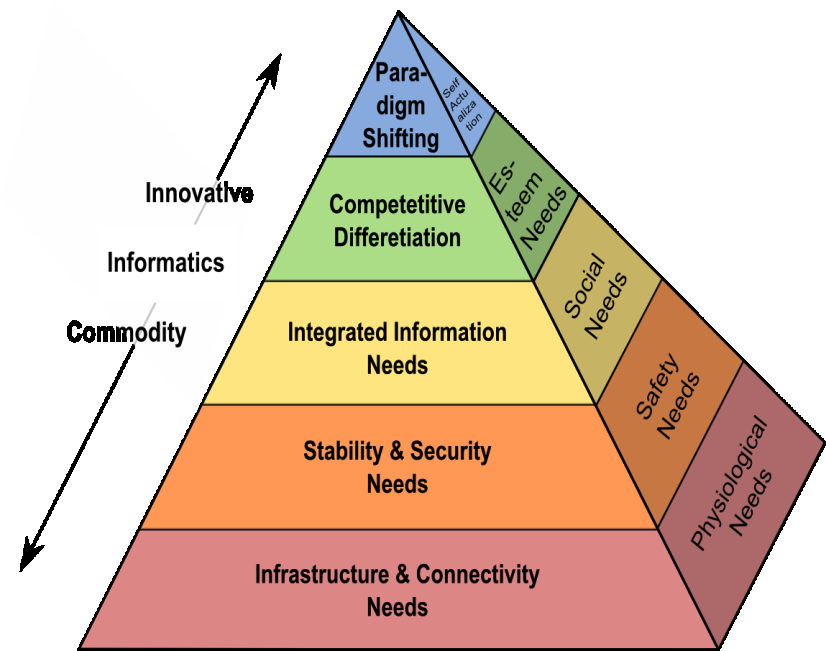 Figure 1: Informatics needs on Maslow s hierarchy At the basic level, mid-to-large sized companies need IT infrastructure and connectivity in order to survive.