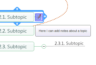 Adding Notes to a Map Click on the topic or subtopic to which you would like to add a note and click the notes button. Notes appear as links on your map.