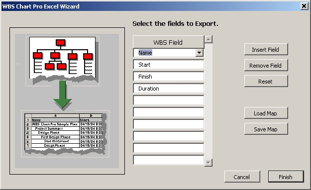 "Exporting to Microsoft Excel Export project information from WBS Schedule Pro to Microsoft Excel. Define which fields to export using the ""Export to Excel Wizard""."