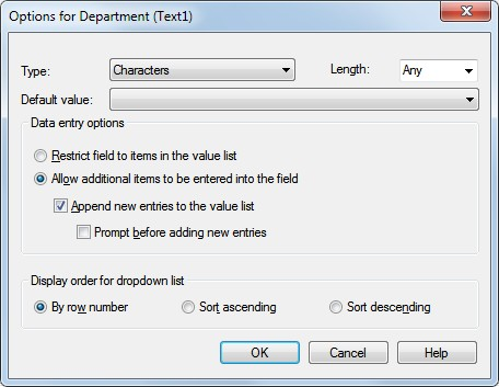contents of this field into the Value List. Options - Displays additional options for working with the Value List Type - Limit the values in the Value List to a certain type of character or number.
