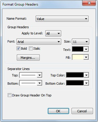 Group Headers Specify the formatting for the Group Headers in the Network Chart.