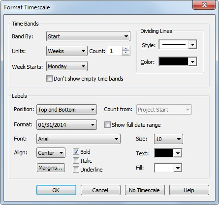 Time Bands Band By Select the field to use when placing a task in the time band. If you select Start, all tasks that Start during the time period are displayed in the time band.