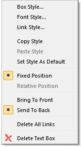 Right-click on a Text box to display the menu. Box Styles - Edit the Box Shape, Color, Fill Color and Shadow for the selected Text Box.