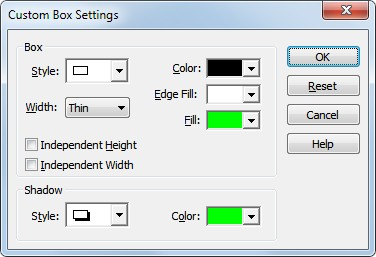 Custom Box Settings For Help on Custom Text Box Settings, see Adding Text Boxes to a Chart Define individual custom box styles for the selected task(s) in a chart.
