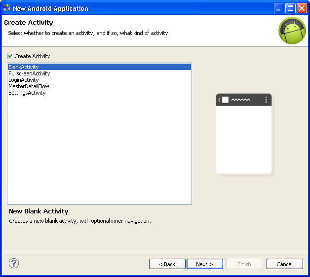 9. In the New Blank Activity window, use these values and click Finish. Activity Name enter SUP101SampleActivity.
