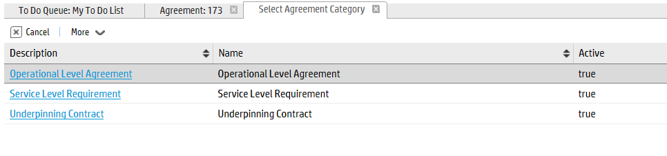 Chapter 24: Service Level Management Details Creating a new SLA, OLA or UC To create a new SLA, OLA or UC, click Service Level Management > Agreements > New Agreement, and then select the agreement