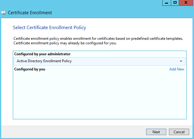New Certificate Enrolment Wizard will be prompted for you.