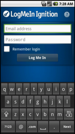 3. To save your LogMeIn username and password, select Remember login. The next time you start Ignition you will go directly to your computer list without typing your username and password.