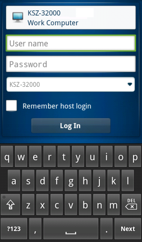 3. To save the user name and password you use to authenticate to the host, select the Remember host login option.
