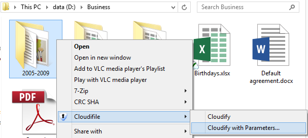 9. Select a file or a folder and click Cloudifile -> Cloudify in the right-click menu. The data is cloudified and marked with the Cloudifile icon. 10.