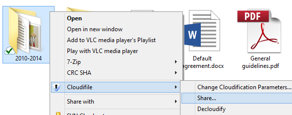Select the cloudified folder and click Cloudifile -> Share in the right-click menu.