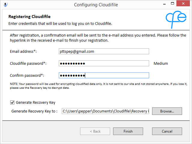 3. Restart your PC. 4. Upon restart, Cloudifile launches automatically. 5. Register a Cloudifile account: Enter the valid email address to be used as your Cloudifile login.