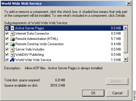 Installing and Configuring IIS Appendix C Step 6 Check the WebDAV Publishing and World Wide Web Service check boxes, and then click OK. Step 7 Step 8 Step 9 Click Next.