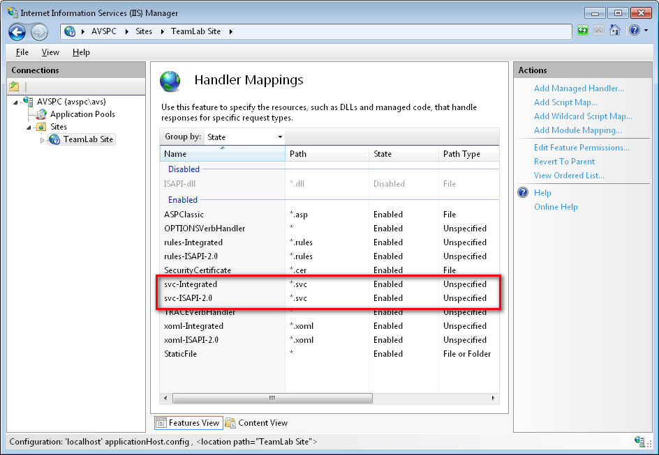 Solution: Go to Administrative Tools of the Windows Control Panel and check the handler mappings