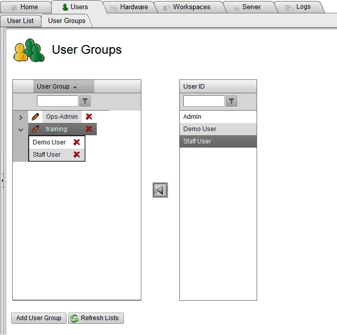 Figure 4-9 User Groups Page You may add or delete a user group, or edit a user group name as follows: Click Add User Group to add a new group.