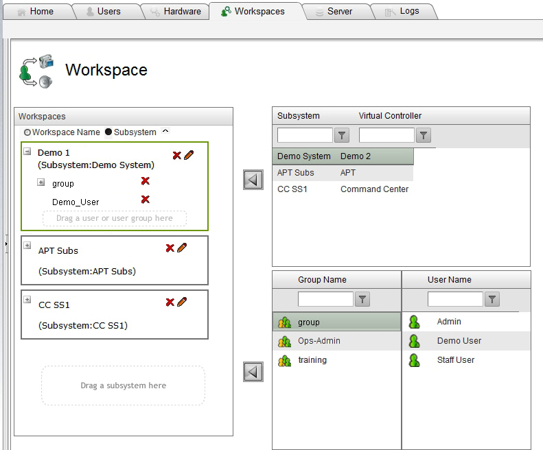 4.12 WORKSPACES CONFIGURATION A workspace maps subsystems to individual users or user groups that are given router control access through that subsystem.