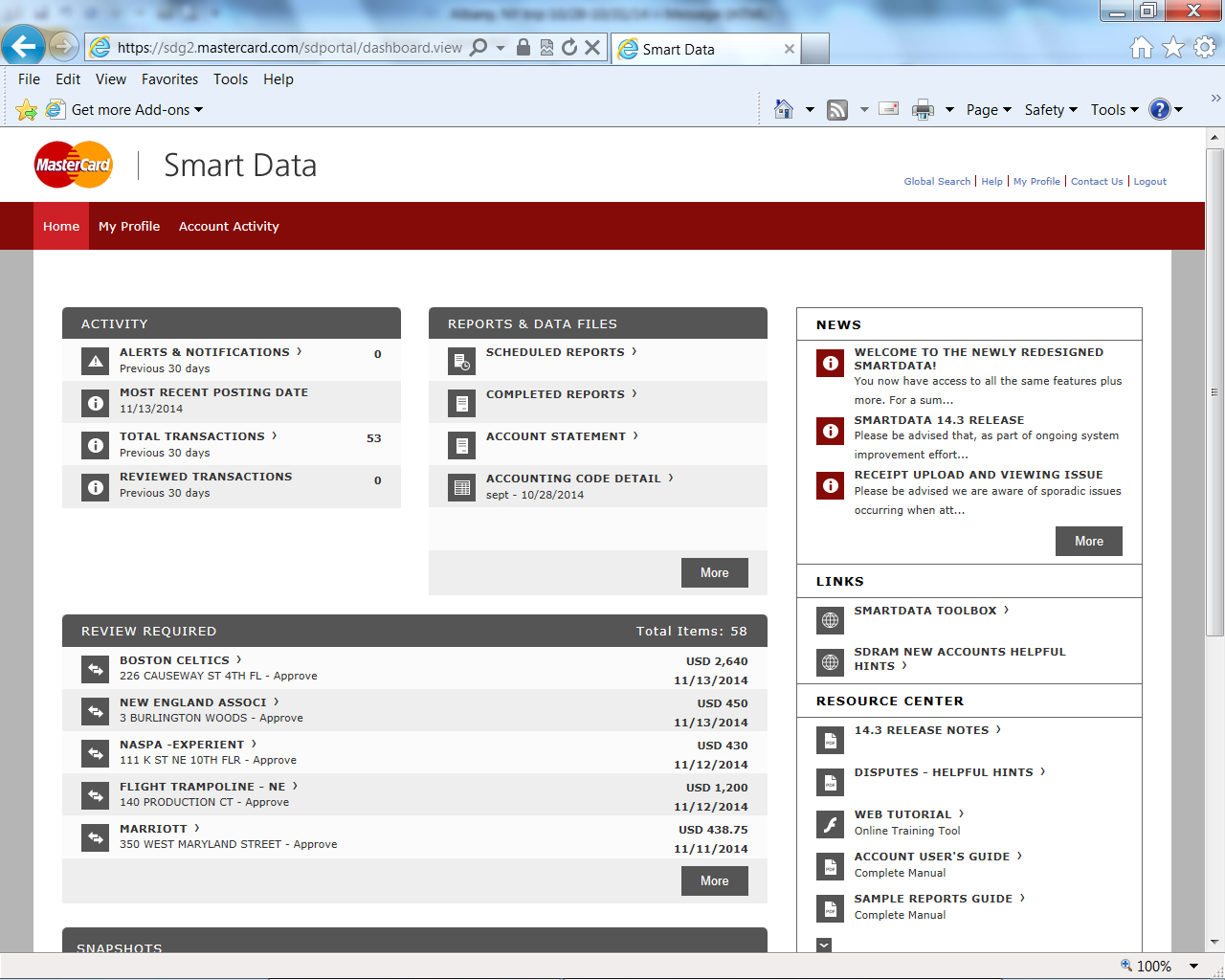 SMART DATA ONLINE HOMEPAGE From the SDOL homepage, you can view your company information, read important news about the system, link to other resources, or download scheduled reports and exports from