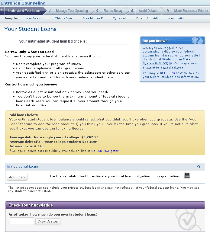 how to add a student loan to payees