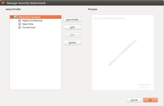 Access. Foxit Reader Security Watermark Management Go to Protect > Settings > Security Watermark; Do one of the following: 1. New Profile: Add a new watermark profile. 2.