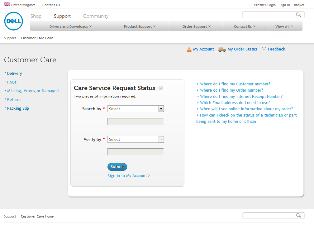 3.1. Care service request status home page.