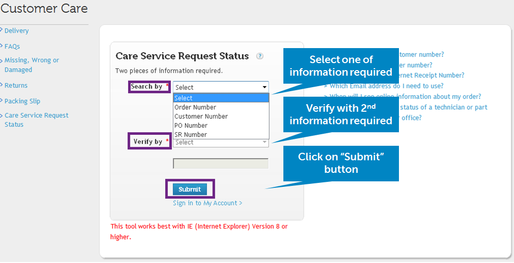 4.1. How can I check my Care service request status?
