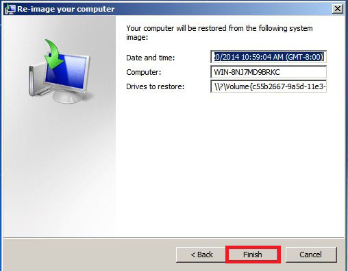 Windows System Recovery Guide Click the Finish button. 8. Click the Yes button. 9.