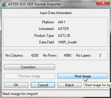 Repeat the Import steps for the SWIR band using the same input file, but on the 'ASTER HDF Format Importer' box click the 'Next Image' button until the 'Data Field' name changes to 'SWIR_Swath'.