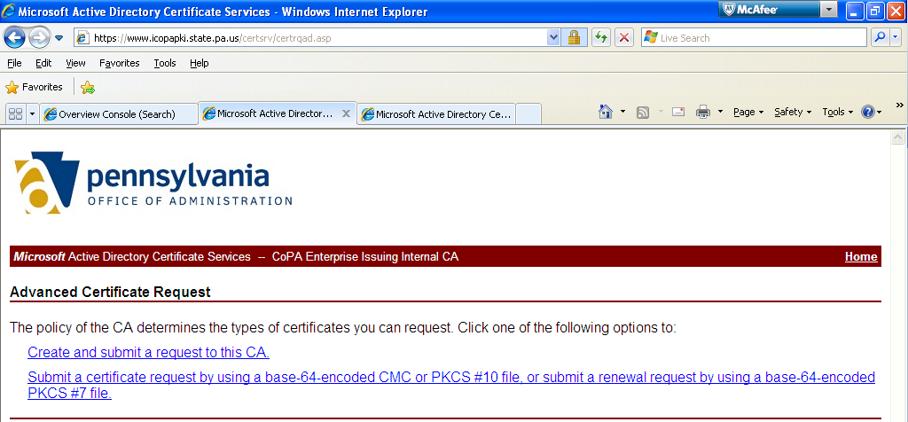 6. Select the Request a certificate link. 7.