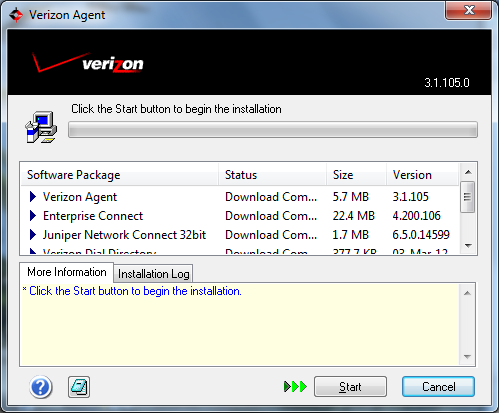 Manually Install Verizon Enterprise Connect Software from CD 1.