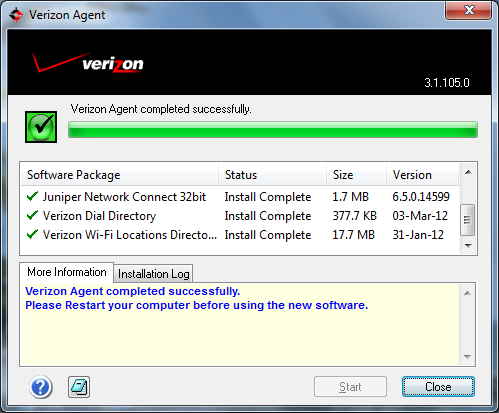 Each of the software packages in the Verizon Agent window will install. 4.
