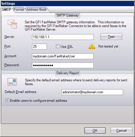 Screenshot 80: GFI FaxMaker Nuance ecopy ShareScan connector SMTP settings 4.