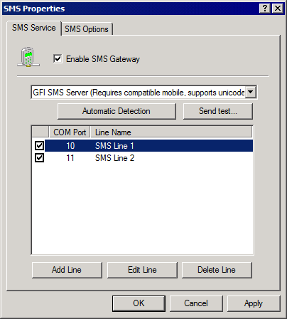 Screenshot 100: Configuring the GFI SMS server 3.