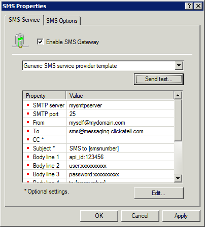 Screenshot 101: Configuring an SMS service provider 3.